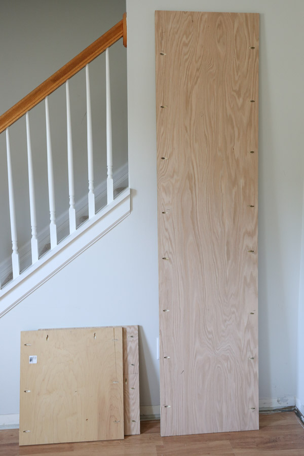 pocket holes drilled on built in cabinet plywood