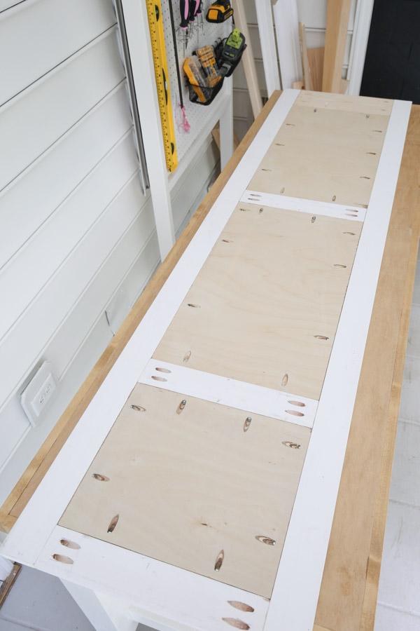 back of diy built in cabinet door with pocket holes