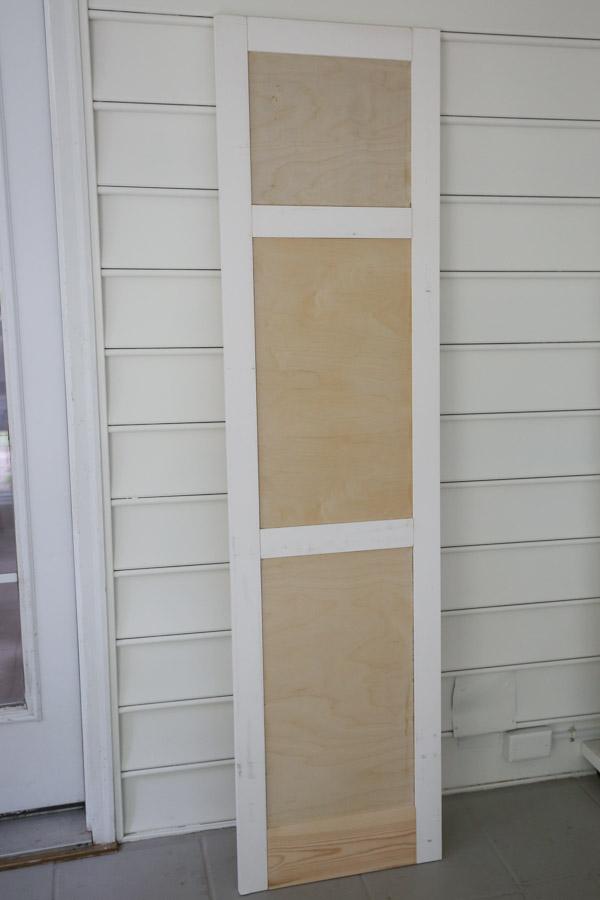 front view of DIY built in cabinet door