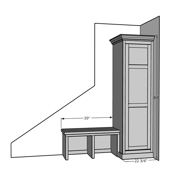 Sketchup built ins mock up of built in bench and cabinet