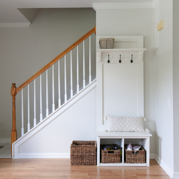 entryway before makeover with gray walls