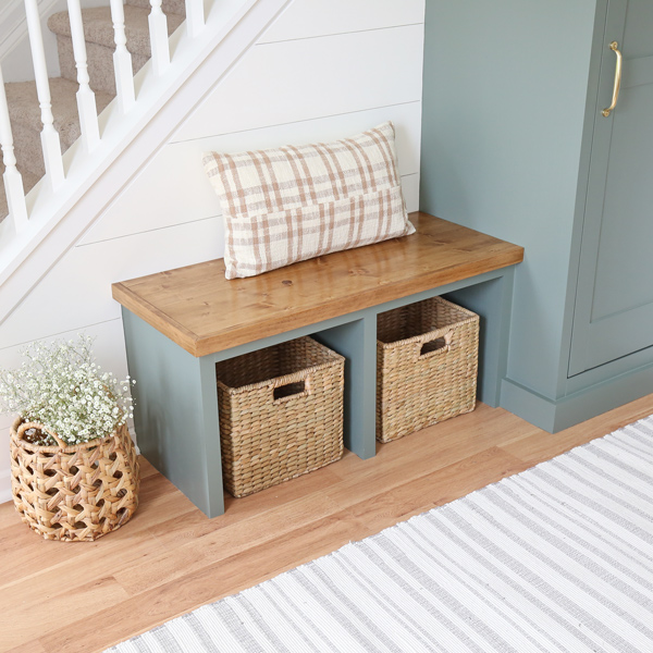 entryway diy built in bench with plaid pillow and baskets for entrway decor
