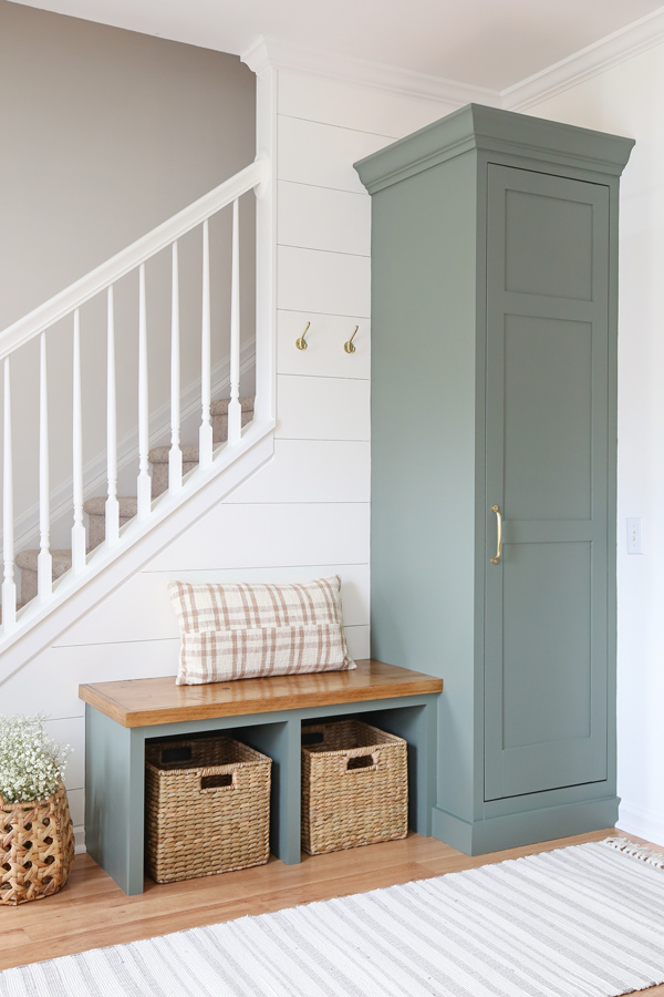diy built in cabinet and bench in DIY entryway makeover with DIY shiplap wall