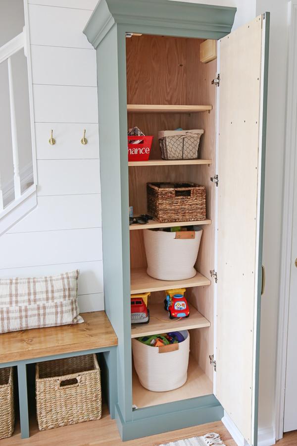 DIY built in cabinet shelves inside of DIY built in cabinet