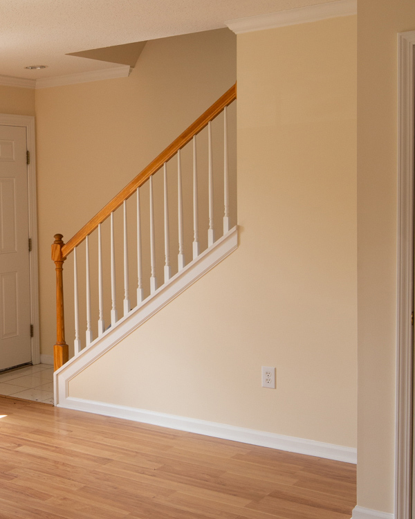 entryway before makeover with yellow walls