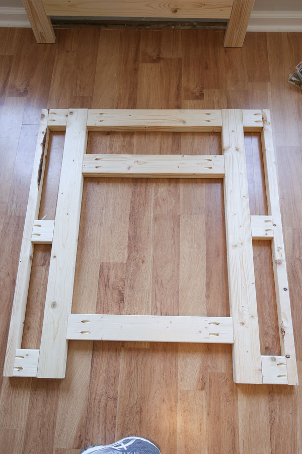front frame of fireplace assembled