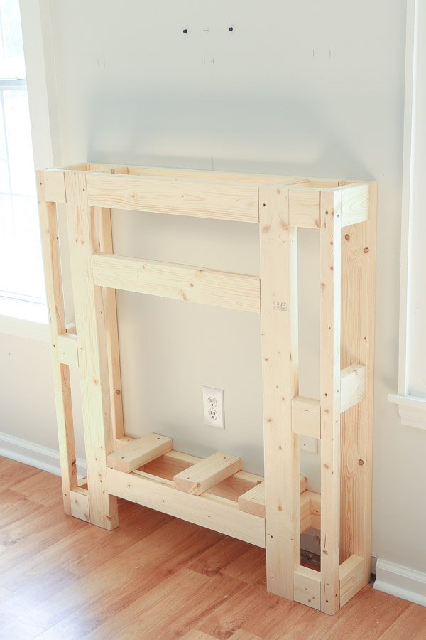 side view of DIY fireplace frame