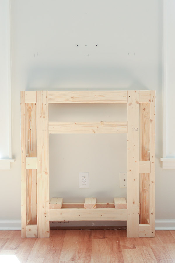 front view of DIY fireplace surround