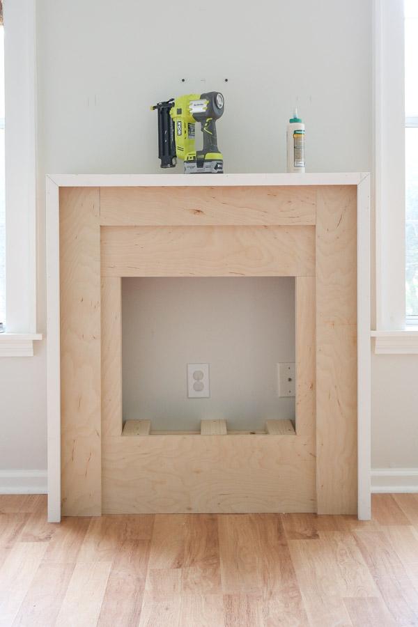 1x2 trim installed on fireplace