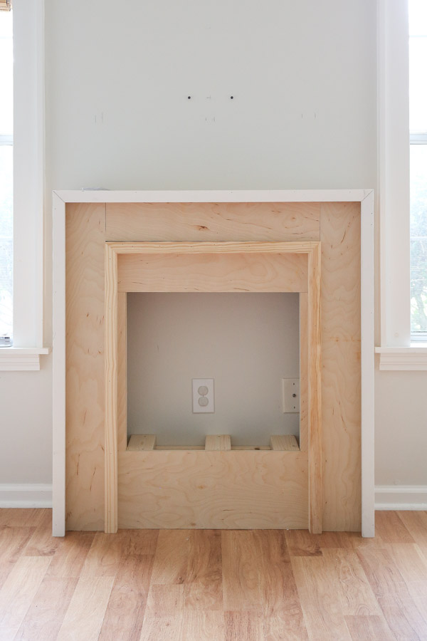 2x2 installed on diy fireplace