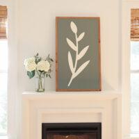 diy large wood sign on fireplace mantel