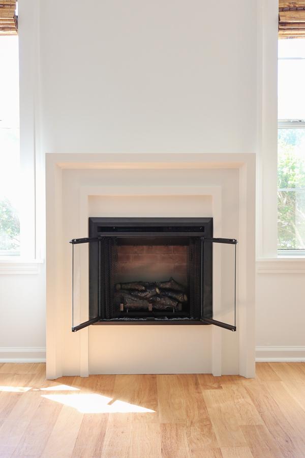 diy fireplace with doors open