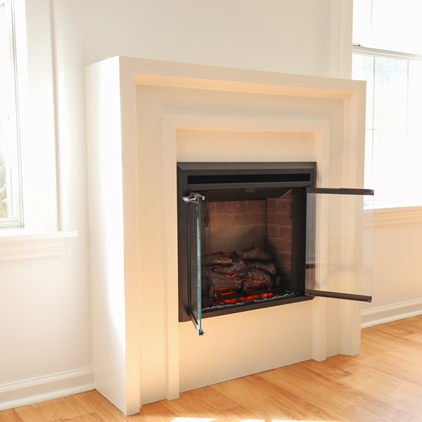 angle view of diy electric fireplace surround