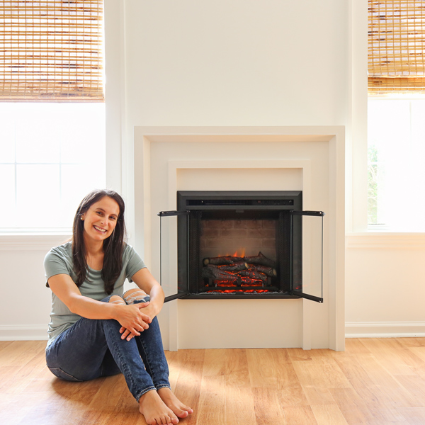 diy electric fireplace with woman woodworker