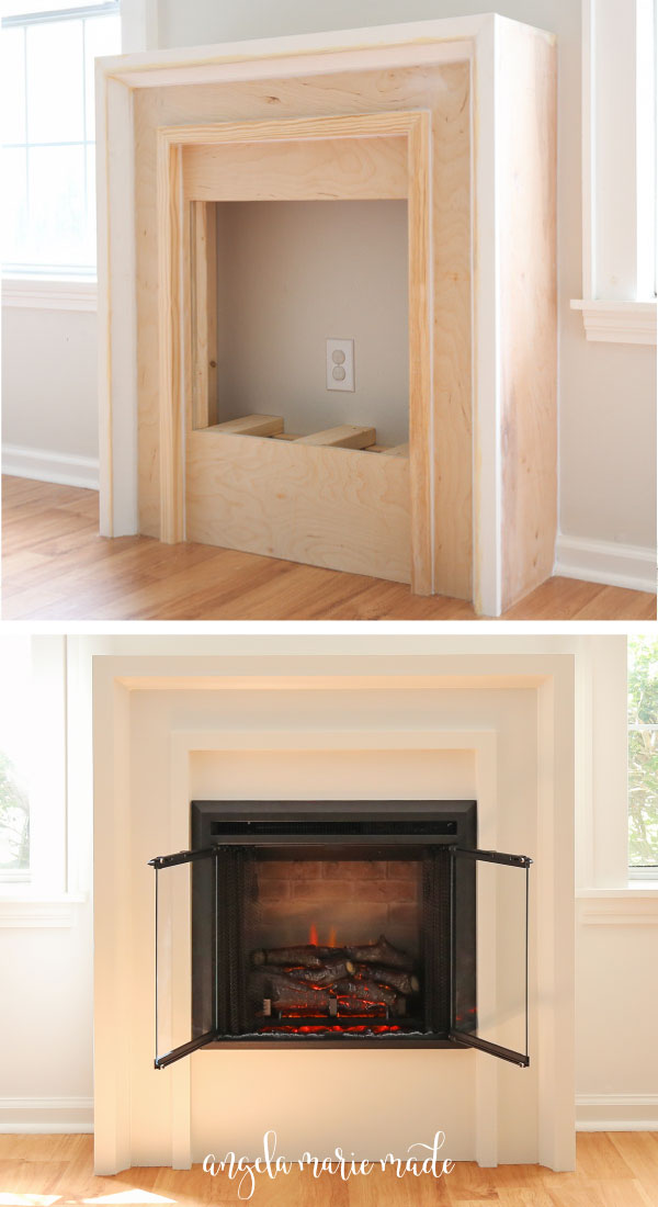 DIY fireplace build before painting and after being painted with electric fireplace insert